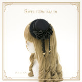 SweetDreamer~Black Swan~ Lace feather water drill Lolita small top hat & flat top top hat