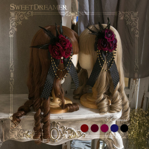 Sweetdreamer Seven sins: raging feathers Rosa Lolita Flower pills, hairpin brooch