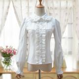 Lolita vintage lace chiffon lantern sleeve high collar blouse