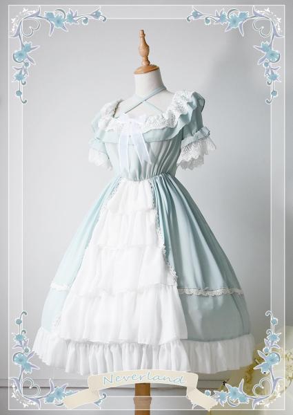 *Neverland*Colorful fairy tales Short sleeve chiffon op dress
