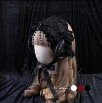 SweetDreamer Lolita headband white Devil's Horn & lace &Pearl chain