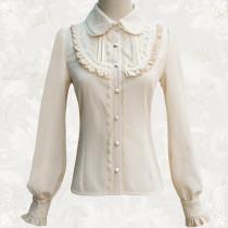 2018 new Lolita shirt lace leaf edge retro daily bubble sleeve blouse
