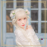 Sweetdreamer Jadeite spring camellia golden lace bow hairband