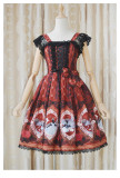 Fairy tale story JSK Alice little red hat print retro Lolita dress