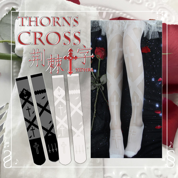 【Yidhra】Witch of Dreams ~ Thorns cross summer glass silk Lolita high stockings