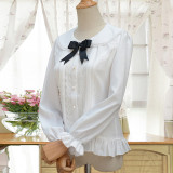 Lovely super cute cat ears chiffon long sleeves shirt college style