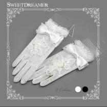 Sweetdreamer Lady Butterfly elegant Vintage lace pearl Lolita gloves