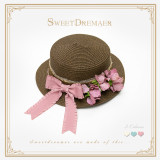 SweetDreamer Sleeping Beauty Vintage Lace Bow Straw Hat Visor