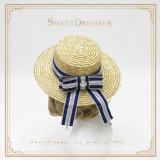 SweetDreamer Palace Style Button Bows Iris Pendant Lolita Straw Hat