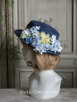 Sweetdreamer Bird ' s song moon season embroidered ball flower Lolita travel straw hat