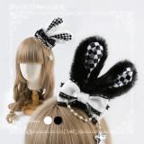 Sweetdreamer Black and White Lingge Plush Rabbit Ear Bow Lolita Hair Clip