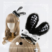 Sweetdreamer Black and White Lingge Plush Rabbit Ear Bow Lolita Hair Clip