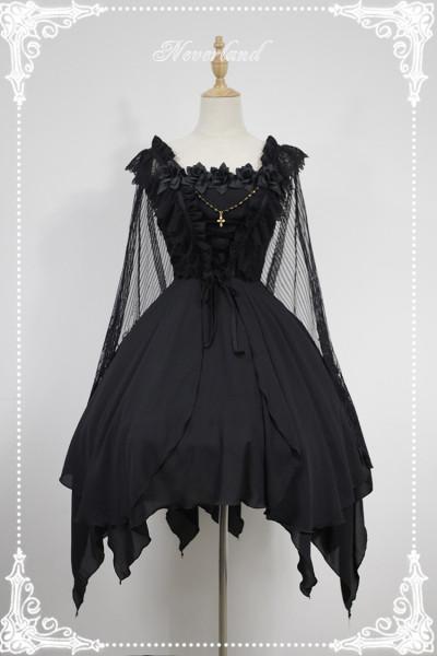 *Neverland*Spectre Ballet gothic style Irregular skirt trimp JSK dress