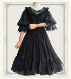 Sweet Lolita V Collar Embroidery Eugen Yarn Seven-Sleeved vintage dress