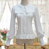 Lolita chiffon lace Square collar lantern sleeves long-sleeves shirt
