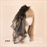 SweetDreamer Black Swan Rose Feather Yarn Lolita Hairband/headband