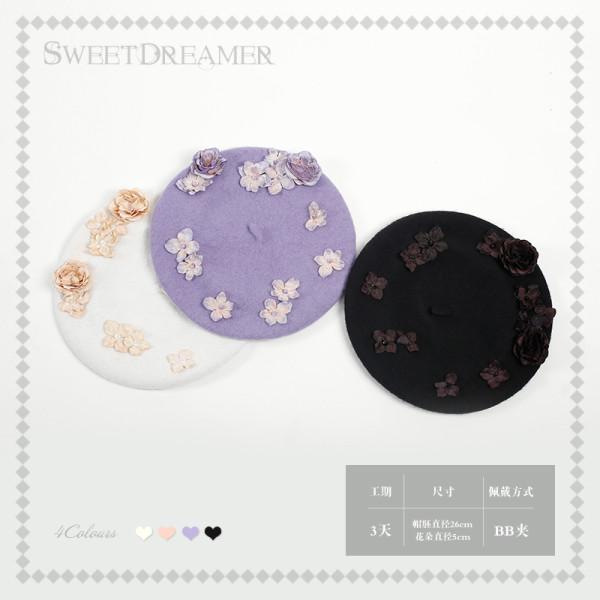 Sweetdreamer Rose crystal four-leaf flower Lolitabeileimao painter hat