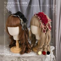 Sweetdreamer Gemstone ornate rose bead chain bow Lolita hairband KC