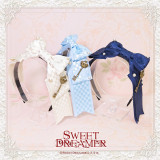 SweetDreamer Plaid Bow Pearl Rhinestone Key Lolita Hair Band/headbow