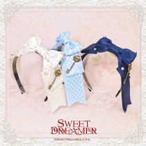 SweetDreamer Plaid Bow Pearl Rhinestone Key Lolita Hair Band/headbow