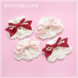 Sweetdreamer Dessert party  strawberry lace cute bow Lolita Wristcuffs