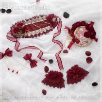 SweetDreamer Pocillin Crimson Rose headband,wristcruff,brooch