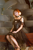 *Neverland*Ashes gothic style Irregular skirt trimp JSK dress