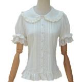 Lolita Shirt Summer Short Sleeved Soft Girl  Daily Bubble Sleeve shirt