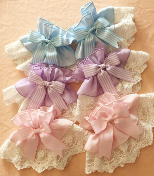 Lolita Cat claw prints hairpins bow + lace wristcuffs