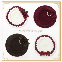 Sweetdreamer Vintage elegant autumn and winter beret wool pearl bow  brooch