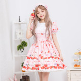 Lolita  cherry /strawberry printting daily princess skirt/op  dress