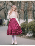 2018 Spring and Autumn velvet lolita skirt girls daily bottom skirt