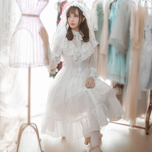 2018 Lolita new dress embroidery lace spring chiffon temperament everyday spring skirt