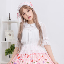 Lolita petal collar chiffon shirt sweet little women's daily soft blouse.