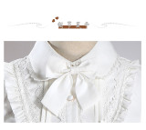 2018 new Lolita shirt lace leaf edge retro daily bubble sleeve blouse