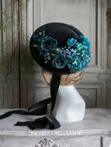 Sweetdreamer Violita Vintage Blue and Green Rose Hydrangea Broad hat