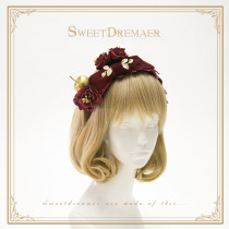 Sweetdreamer Gold apple Vintage's hand hair Hoop for Rose Velvet Bowknot