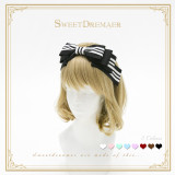 Sweetdreamer Voice of music daily black and white striped folded bow Lolita hairband KC