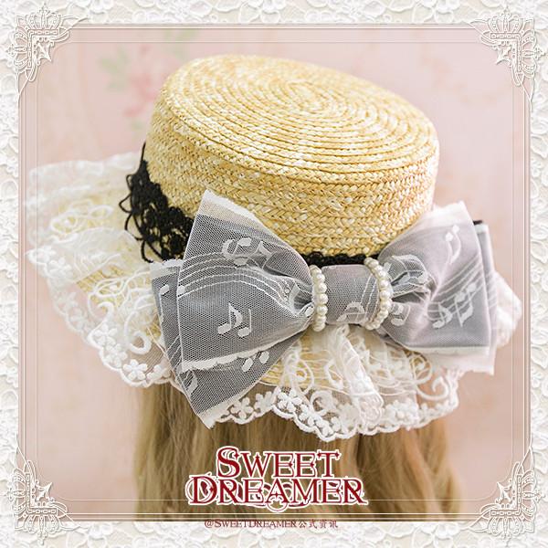 Sweetdreamer Music vioce lace pearl bow Lolita straw hat sunshade