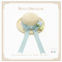 SweetDreamer The Wizard of Oz Hydrangea Bow Lolita Straw Hat Visor