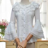 S/S Lolita Shirts Sweet Japanese Seven Sleeved Chiffon Lace Shirts/Blouse