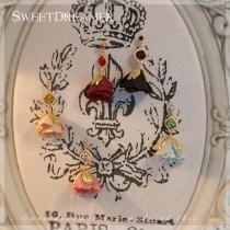 SweetDreamer Vintage Gem Vintage Rose Handmade Flower ear clip Stud Earrings