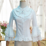 Lolita Silk Cotton Lace  Trumpet Long Sleeve  Shirt