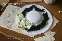 Sweetdreamer Mansfield Manor Vintage Velvet Pearl lace hard mesh wide brim hat