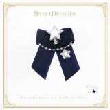 Sweetdreamer Star down night gold silver star bell bead chain snow yarn bow Lolita hairpin