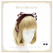 Sweetdreamer Elegant lacy laminated bow tie Lolita hairband KC