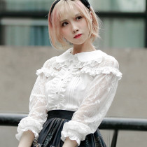 2018 S/A New Lolita Shirts Lace Hollow Retro Daily Doll Collar Blouse