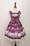 Alice girl~Cat Crown Chain print sweet lolita jsk dress