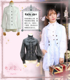 Lolita chiffon lace vintage high-collar  long-sleeves shirts