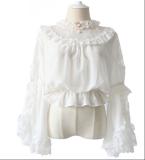 Alice girl~Lolita  lace  Lotus leaf  pendant chiffon shirt pre-order
